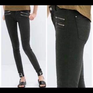 ZARA z1975 dark gray denim jeans / zipper detail